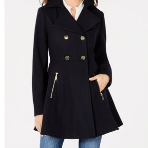 Black Double Breasted Skirted Peacoat XL